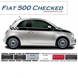 2012 - 2015 Fiat 500 Checked Side Stripe Graphic