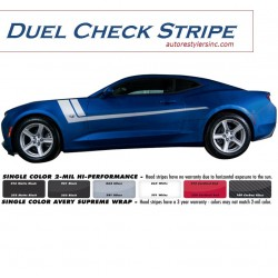 2016 Chevy Camaro Duel Check Side Stripe Graphics Kit