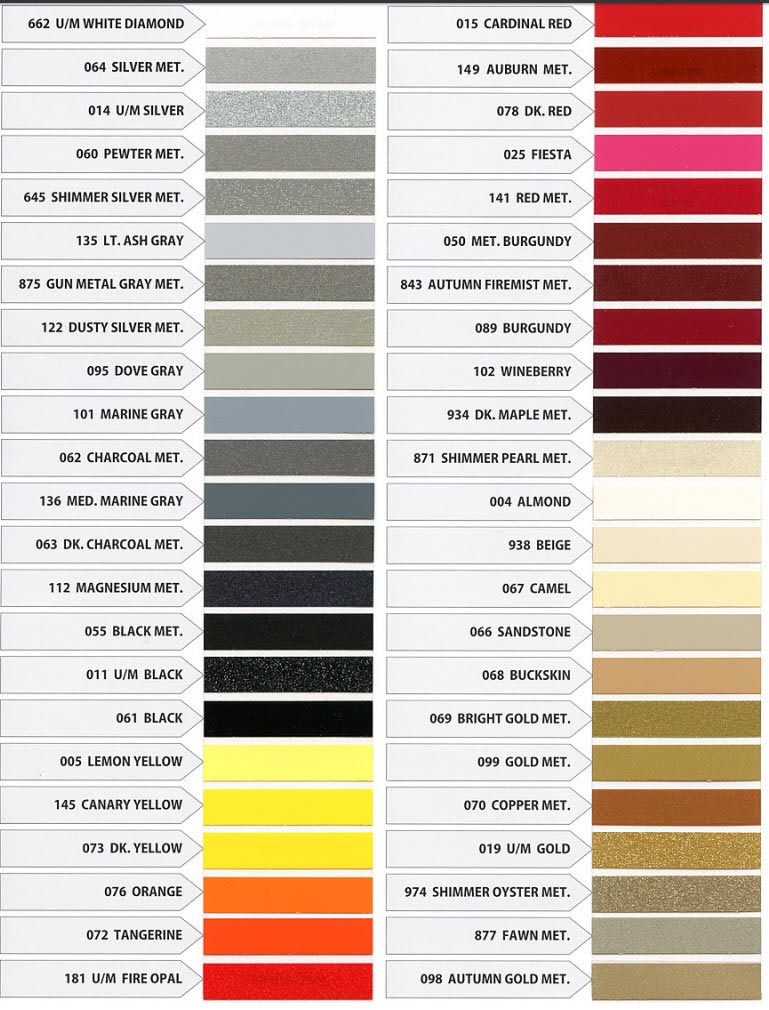 Pinstripe Color Chart