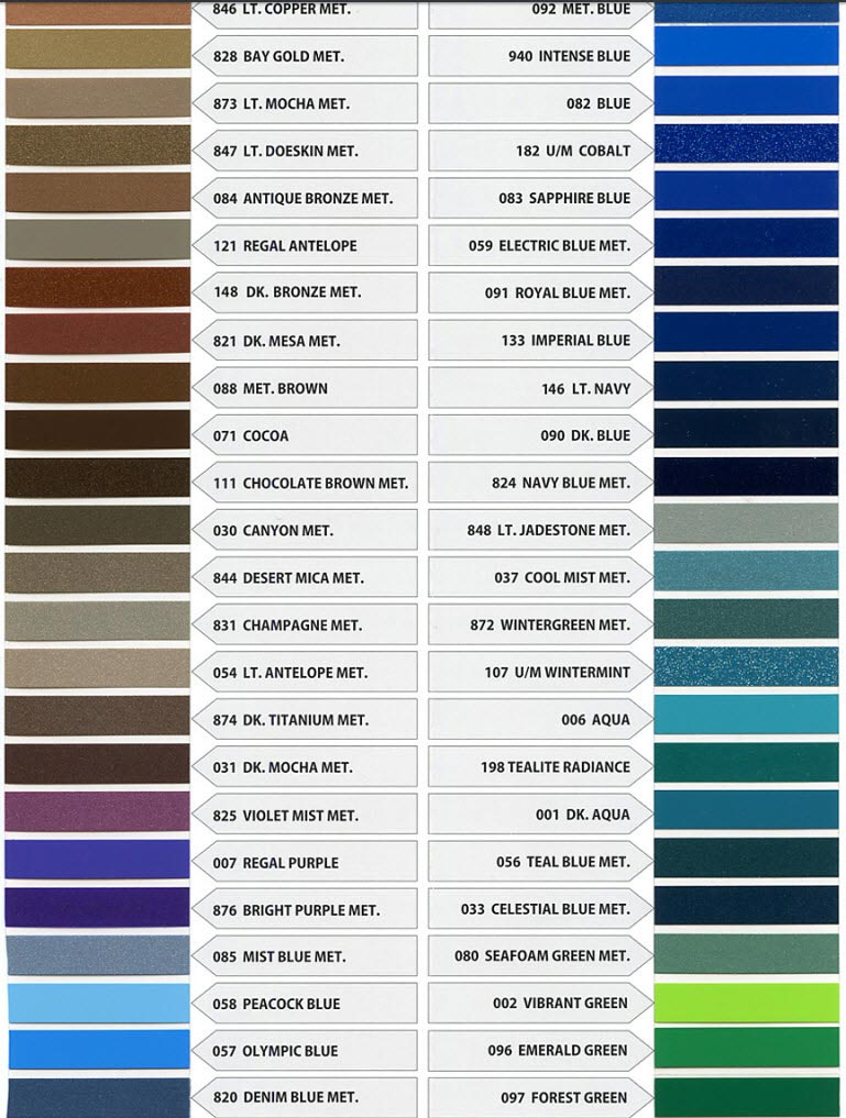 Pinstripe Color Chart 2
