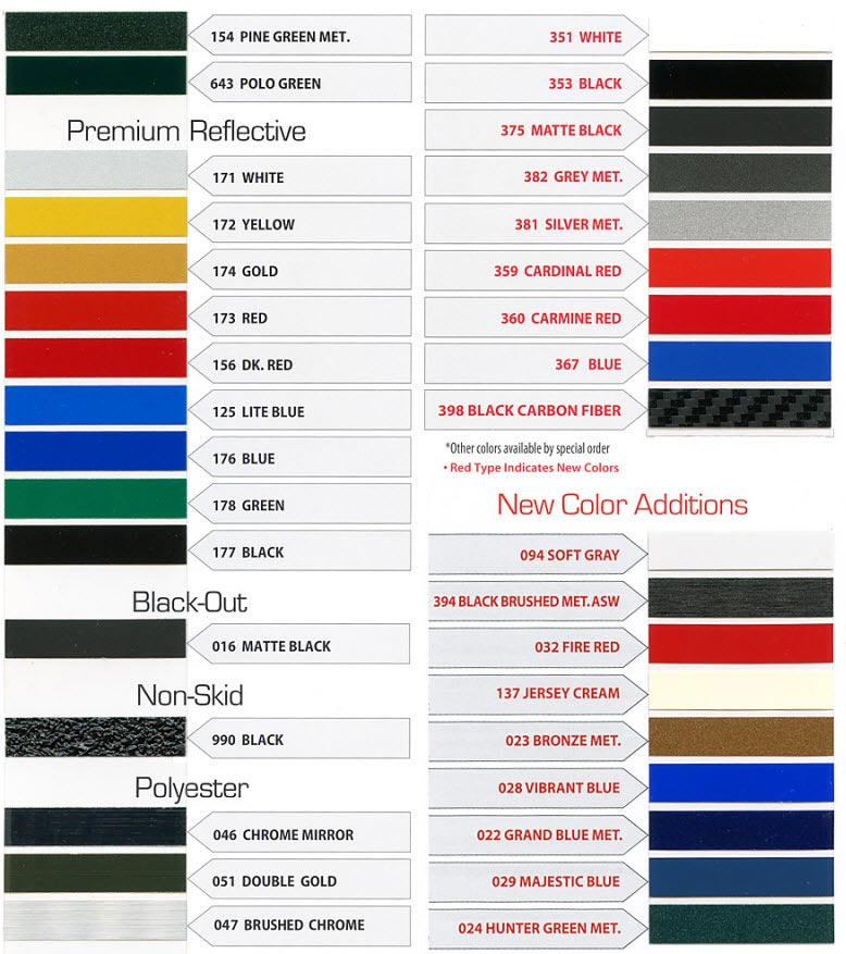 Pinstripe Color Chart 3