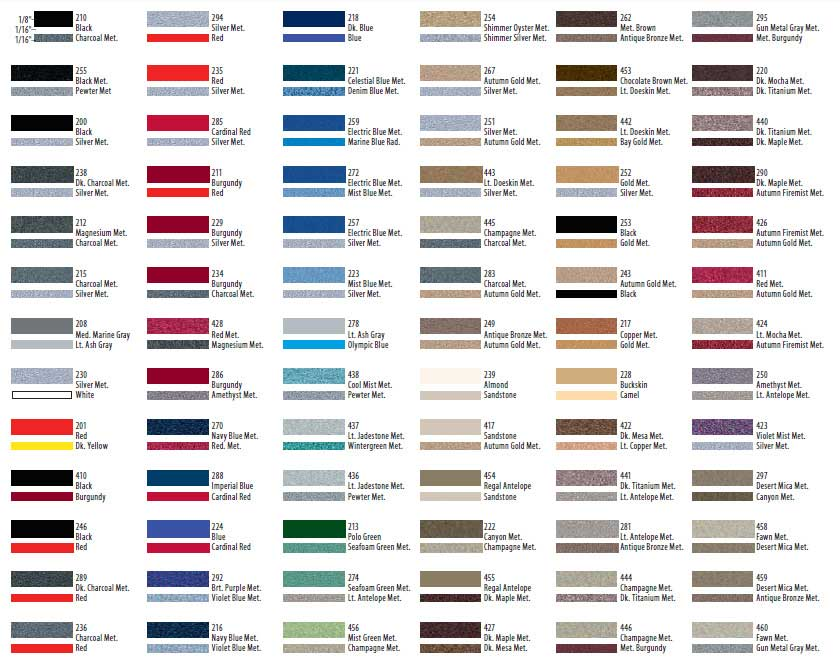 2 color pinstripe color chart