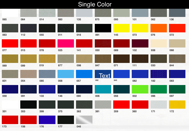 single color marine striping tape chart