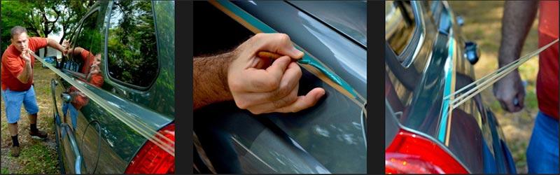 Pinstripe stencil tape install